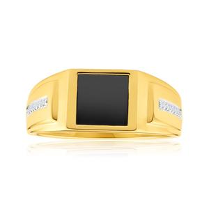 9ct Yellow Gold Gorgeous Diamond + Onyx Ring