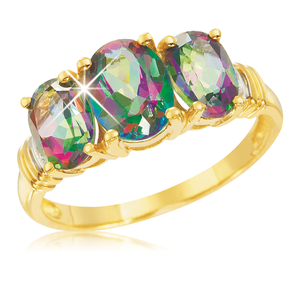 9ct Yellow Gold Oval Mystic Topaz and Diamond Trilogy Ring