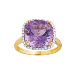 9ct Yellow Gold Amethyst + Diamond Ring