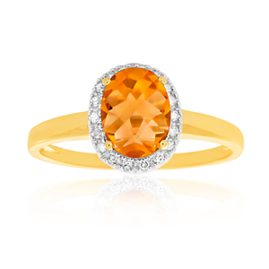 9ct Yellow Gold Citrine 6x8mm and Diamond Ring