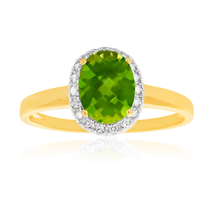 9ct Yellow Gold & White Gold Diamond + Peridot Ring
