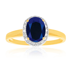 9ct Yellow Gold & White Gold Created Sapphire and Diamond Ring