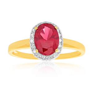 9ct Yellow Gold & White Gold Created Ruby + Diamond Ring