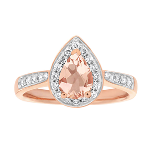 9ct Rose Gold Morganite 7x5mm and Diamond 0.20ct Ring