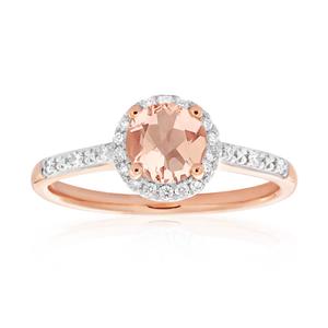 9ct Rose Gold Morganite 6mm and Diamond Halo 0.14ct Ring