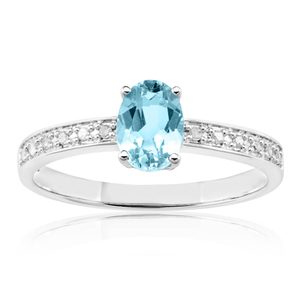 9ct White Gold Oval Cut Blue Topaz and Diamond Channel Set Ring