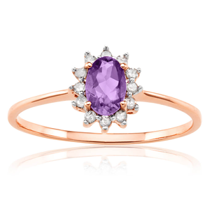 9ct Rose Gold 6x4mm Amethyst + 0.1 Carat Diamond Ring