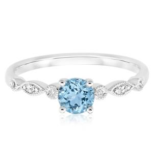 9ct White Gold Round Cut Aquamarine + Diamond Ring