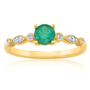 9ct Charming Yellow Gold Diamond + Emerald Ring