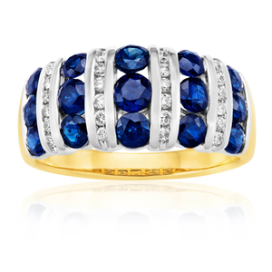9ct Yellow Gold Diamond + Natural Sapphire Ring