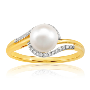 9ct Yellow Gold Enticing Diamond + Pearl Ring