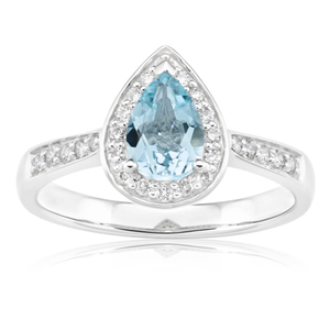 9ct White Gold Pear Cut Aquamarine + Diamond Ring