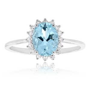 9ct White Gold Aquamarine + Diamond Cluster Ring