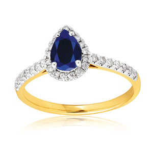 9ct Yellow Gold Diamond + Natural Blue Sapphire Ring