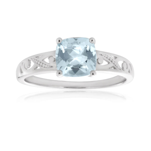 9ct White Gold 7mm Cushion Cut Aquamarine Ring