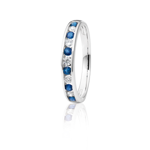 18ct White Gold Natural Blue Sapphire and Diamond Ring