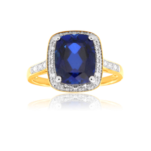 9ct Yellow Gold Created Sapphire 10x8mm and Diamond Ring