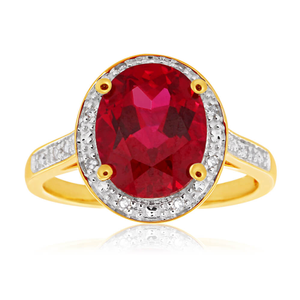 9ct Yellow Gold Created Ruby 10x8mm and Diamond Ring