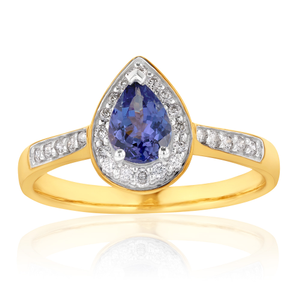 9ct Yellow Gold Tanzanite + Diamond Ring