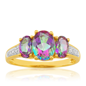 Mystic Topaz Oval Cut & Diamond Trilogy Ring in 9ct Yellow Gold