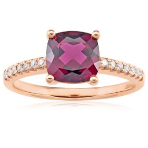 9ct Rose Gold 7mm Cushion Cut Rhodolite Garnet Ring with 0.11ct Diamonds