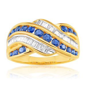9ct Yellow Gold Natural Sapphire and 0.23ct Diamond Wave Ring