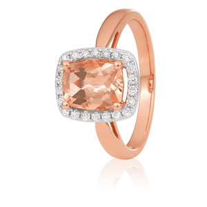 9ct Rose Gold Cushion Cut Morganite 8x6mm and Diamond 0.15ct Halo Ring