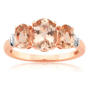 9ct Rose Gold Morganite & Diamond Trilogy Ring