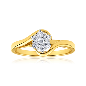 9ct Yellow Gold Diamond Luxurious Ring