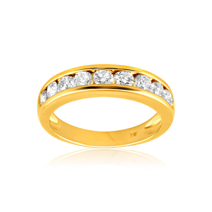 18ct Yellow Gold Ring With 1 Carat Of Brilliant Cut Channel Set Diamonds