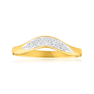 9ct Yellow Gold Diamond Curved Ring