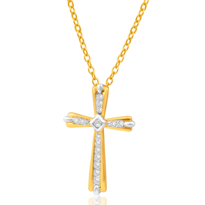 9ct Yellow Gold & White Gold Diamond Pendant