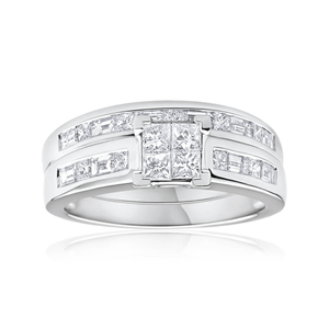 18ct White Gold 2 Ring Bridal Set With 1 Carat Of Diamonds