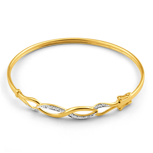 Diamond Open Link Hinged Bangle in 9ct Yellow Gold