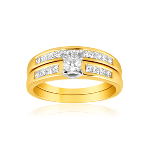 18ct Yellow Gold 2 Ring Bridal Set With 1 Carat Of Diamonds