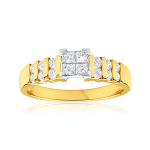 9ct Yellow Gold & White Gold Ring With 0.65 Carats Of Diamonds