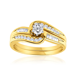 9ct Yellow Gold 2 Ring Bridal Set With 0.5 Carats Of Channel Set Diamonds