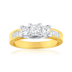 18ct Yellow Gold Ring With 1 Carat Of Baguette And Princess Cut Diamonds