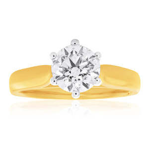 18ct Yellow Gold Solitaire Ring With 1.5 Carat Diamond