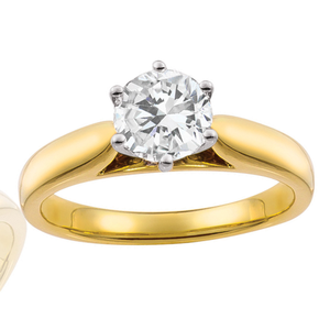 18ct Yellow Gold 1 Carat Brilliant Diamond Solitaire Ring