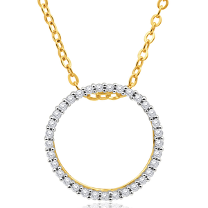 9ct Yellow Gold Circle Of Life Diamond Pendant