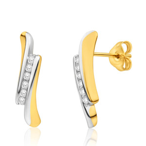 9ct Alluring Yellow Gold & White Gold Diamond Stud Earrings