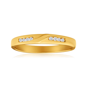 9ct Yellow Gold Diamond Ring  Set with 8 Points of Brilliant Diamonds