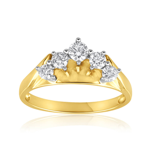 18ct Yellow Gold White Ring With 045 Carats Of Diamonds