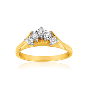 18ct Yellow Gold Ring With 5 Brilliant Cut Diamonds Totalling 0.25 Carats