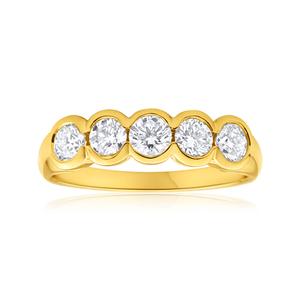 18ct Yellow Gold Ring With 1 Carat Of Bezel Set Diamonds