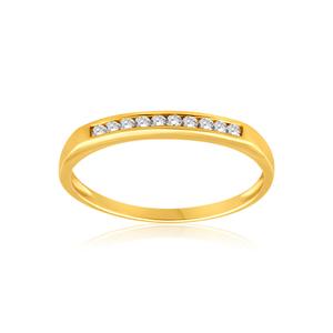 9ct Yellow Gold Diamond Ring Set with 10 Stunning Brilliant Diamonds