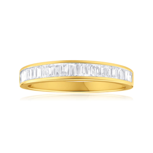 9ct Yellow Gold Diamond Ring Set with 25 Baguette Diamonds