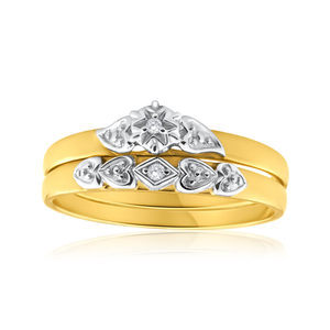 9ct Yellow Gold 2 Ring Bridal Set With 0.02 Carats Of Diamonds