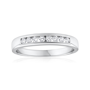 18ct White Gold Ring With 0.2 Carats Of Channel Set Diamonds
